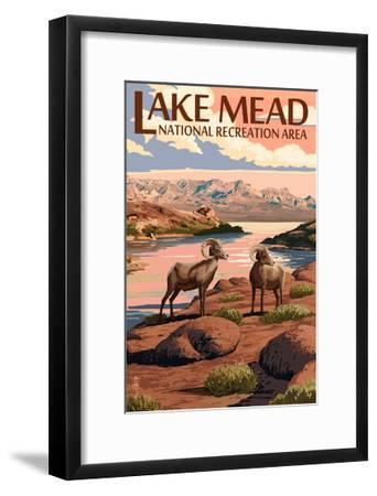 Lake Mead - National Recreation Area - Bighorn Sheep-Lantern Press-Framed Art Print