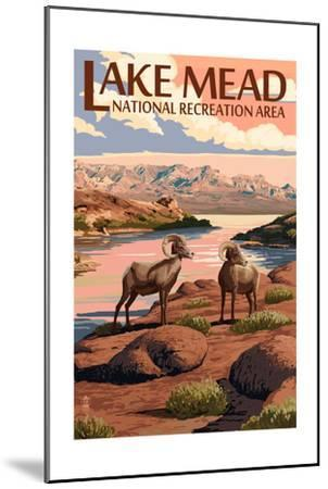 Lake Mead - National Recreation Area - Bighorn Sheep-Lantern Press-Mounted Art Print