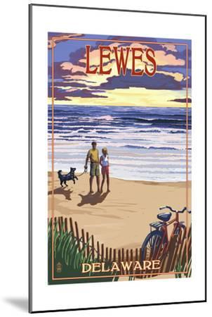 Lewes, Delaware - Beach and Sunset-Lantern Press-Mounted Art Print