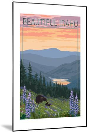 Idaho - Bear and Spring Flowers-Lantern Press-Mounted Art Print
