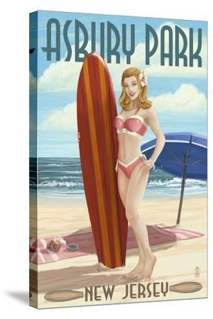 Asbury Park, New Jersey - Surfer Pinup Girl-Lantern Press-Stretched Canvas Print