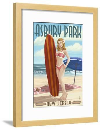 Asbury Park, New Jersey - Surfer Pinup Girl-Lantern Press-Framed Art Print