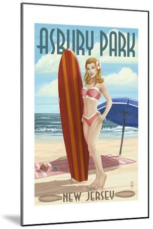 Asbury Park, New Jersey - Surfer Pinup Girl-Lantern Press-Mounted Art Print