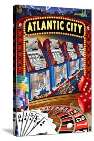 Atlantic City - Casino Scene-Lantern Press-Stretched Canvas Print