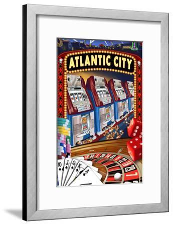 Atlantic City - Casino Scene-Lantern Press-Framed Art Print