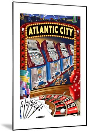 Atlantic City - Casino Scene-Lantern Press-Mounted Art Print