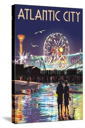 Atlantic City - Steel Pier at Night-Lantern Press-Stretched Canvas Print