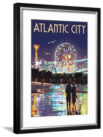 Atlantic City - Steel Pier at Night-Lantern Press-Framed Art Print