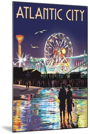 Atlantic City - Steel Pier at Night-Lantern Press-Mounted Art Print
