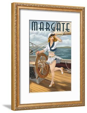 Margate, New Jersey - Pinup Girl Sailing-Lantern Press-Framed Art Print
