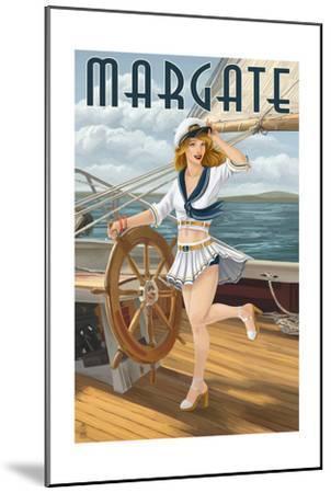 Margate, New Jersey - Pinup Girl Sailing-Lantern Press-Mounted Art Print