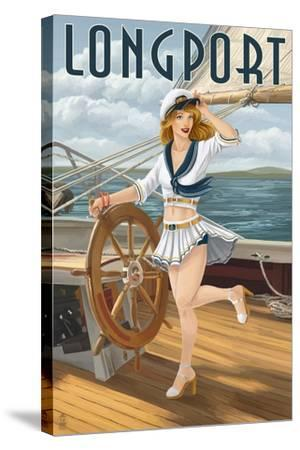 Longport, New Jersey - Pinup Girl Sailing-Lantern Press-Stretched Canvas Print