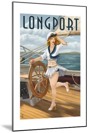 Longport, New Jersey - Pinup Girl Sailing-Lantern Press-Mounted Art Print