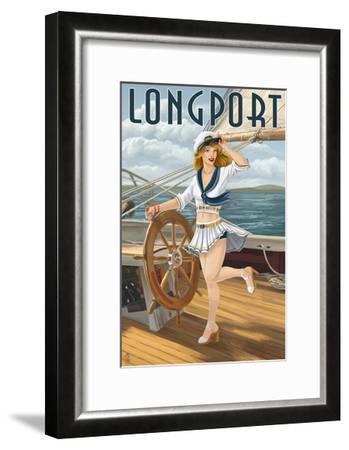 Longport, New Jersey - Pinup Girl Sailing-Lantern Press-Framed Art Print