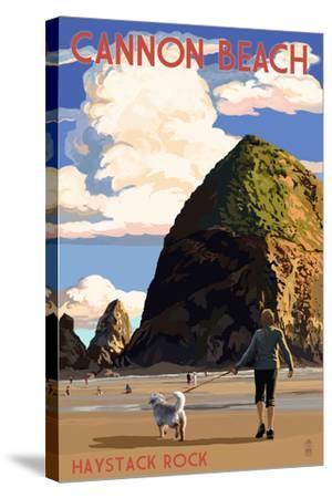 Cannon Beach, Oregon - Haystack Rock-Lantern Press-Stretched Canvas Print