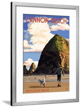 Cannon Beach, Oregon - Haystack Rock-Lantern Press-Framed Art Print