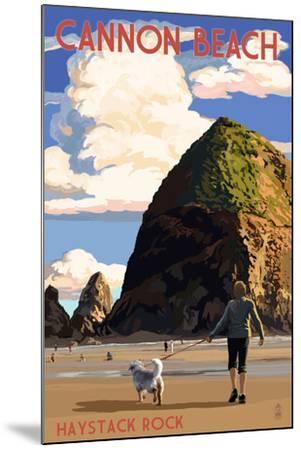 Cannon Beach, Oregon - Haystack Rock-Lantern Press-Mounted Art Print