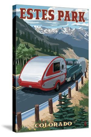 Estes Park, Colorado - Retro Camper-Lantern Press-Stretched Canvas Print
