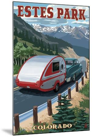 Estes Park, Colorado - Retro Camper-Lantern Press-Mounted Art Print