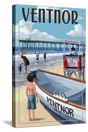 Ventnor, New Jersey - Lifeguard Stand-Lantern Press-Stretched Canvas Print