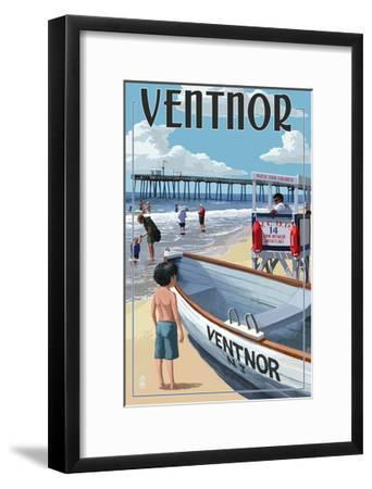 Ventnor, New Jersey - Lifeguard Stand-Lantern Press-Framed Art Print