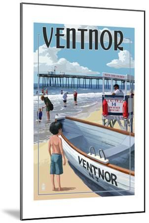 Ventnor, New Jersey - Lifeguard Stand-Lantern Press-Mounted Art Print