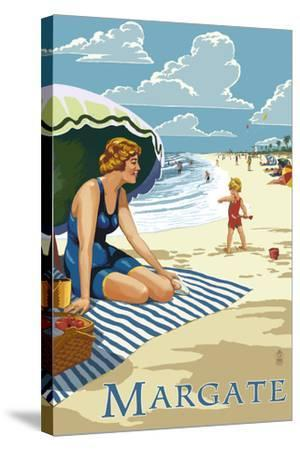 Margate, New Jersey - Woman on the Beach-Lantern Press-Stretched Canvas Print