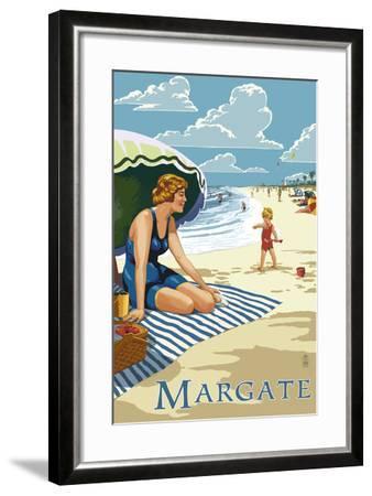 Margate, New Jersey - Woman on the Beach-Lantern Press-Framed Art Print