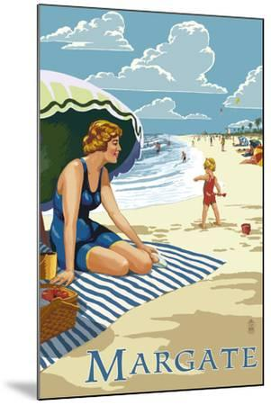 Margate, New Jersey - Woman on the Beach-Lantern Press-Mounted Art Print