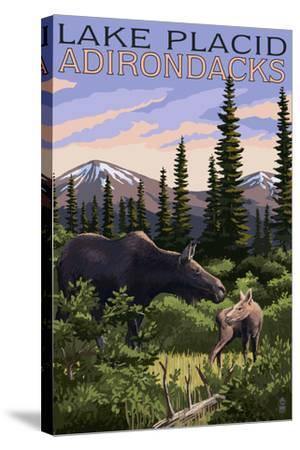 Lake Placid, New York - Moose and Calf-Lantern Press-Stretched Canvas Print