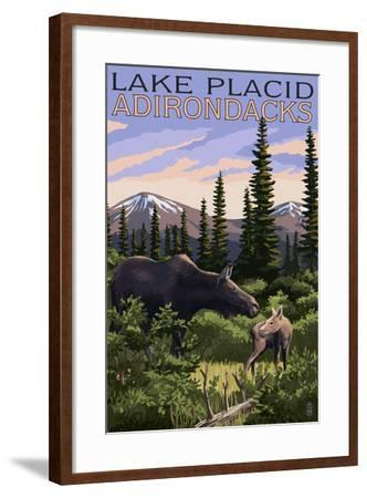 Lake Placid, New York - Moose and Calf-Lantern Press-Framed Art Print