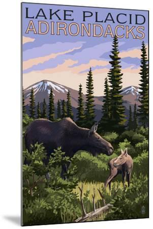 Lake Placid, New York - Moose and Calf-Lantern Press-Mounted Art Print