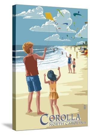 Corolla, North Carolina - Kite Flyers-Lantern Press-Stretched Canvas Print