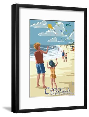 Corolla, North Carolina - Kite Flyers-Lantern Press-Framed Art Print