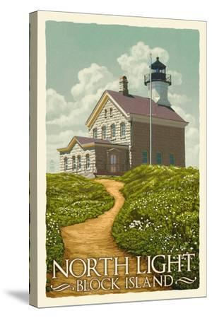 Block Island, Rhode Island - North Light-Lantern Press-Stretched Canvas Print