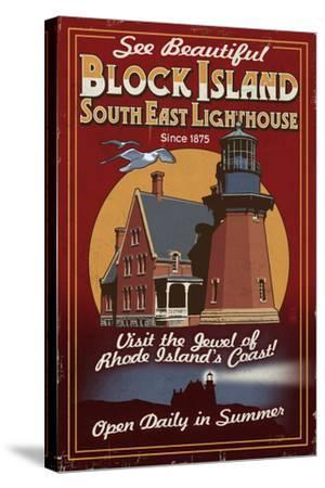 Block Island, Rhode Island - Lighthouse Vintage Sign-Lantern Press-Stretched Canvas Print