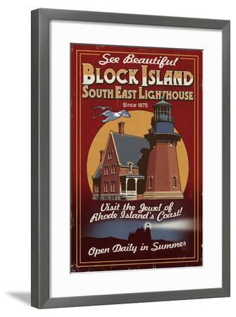 Block Island, Rhode Island - Lighthouse Vintage Sign-Lantern Press-Framed Art Print