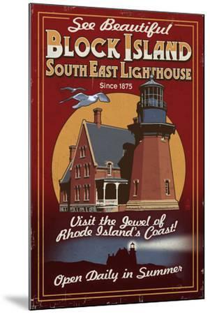 Block Island, Rhode Island - Lighthouse Vintage Sign-Lantern Press-Mounted Art Print