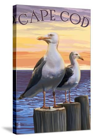 Cape Cod, Massachusetts - Seagulls-Lantern Press-Stretched Canvas Print