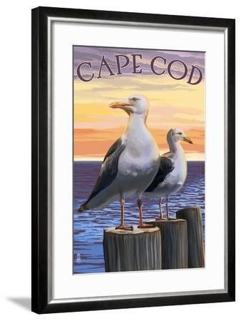 Cape Cod, Massachusetts - Seagulls-Lantern Press-Framed Art Print