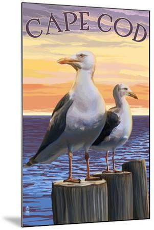 Cape Cod, Massachusetts - Seagulls-Lantern Press-Mounted Art Print