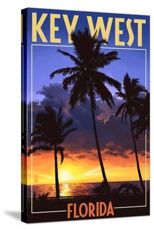 Key West, Florida - Palms and Sunset-Lantern Press-Stretched Canvas Print