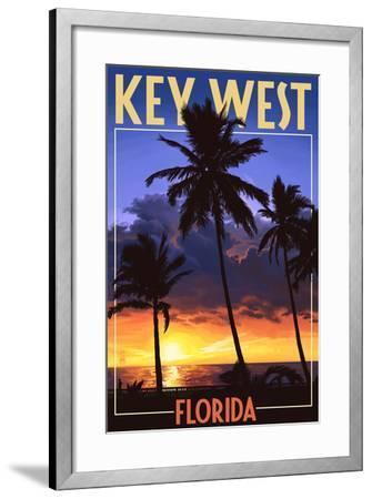 Key West, Florida - Palms and Sunset-Lantern Press-Framed Art Print