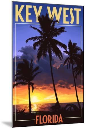 Key West, Florida - Palms and Sunset-Lantern Press-Mounted Art Print