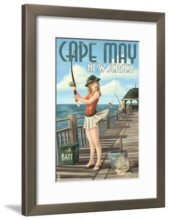Cape May, New Jersey - Fishing Pinup Girl-Lantern Press-Framed Art Print