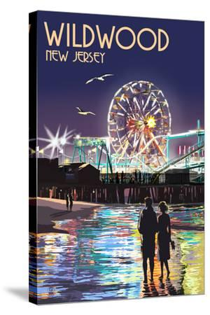 Wildwood, New Jersey - Pier and Rides at Night-Lantern Press-Stretched Canvas Print
