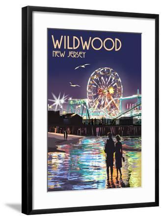 Wildwood, New Jersey - Pier and Rides at Night-Lantern Press-Framed Art Print