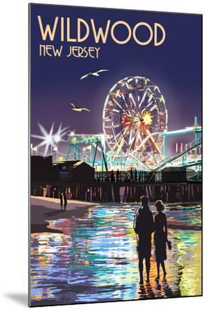 Wildwood, New Jersey - Pier and Rides at Night-Lantern Press-Mounted Art Print