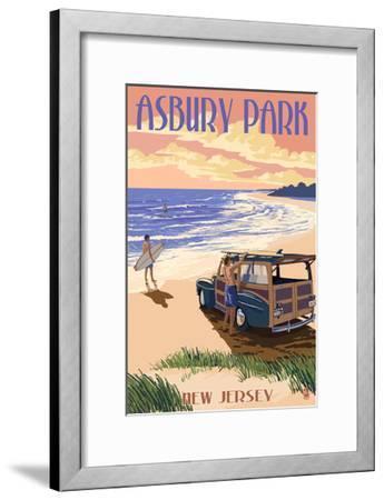 Asbury Park, New Jersey - Woody on the Beach-Lantern Press-Framed Art Print
