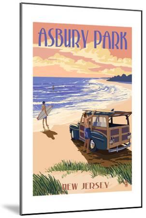Asbury Park, New Jersey - Woody on the Beach-Lantern Press-Mounted Art Print